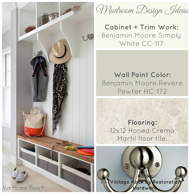 Mudroom Design Ideas. Ideas for your mudroom design. Mudroom Cabinet Paint Color is Benjamin Moore Simply White OC-117. Mudroom Wall Paint Color is Benjamin Moore Revere Pewter HC-172. Mudroom Flooring is 12X12 Honed Crema Marfil Floor Tile. Mudroom Hoods are the Vintage Hooks from Restoration Hardware. #Mudroom #MudroomDecor #MudroomIdeas