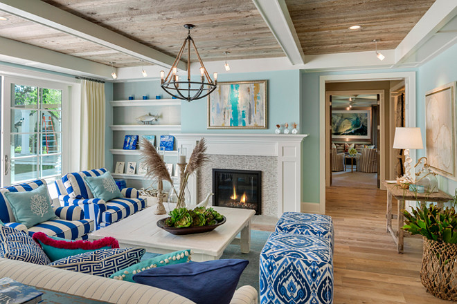 Coastal Living room. Coastal Living room ideas. Coastal Living room paint color. Coastal Living room fabrics. Coastal Living room textures. Coastal Living room colors, Coastal Living room motif. Coastal Living room plank ceiling. Coastal Living room plank floors. #Coastal #Interiors #Livingroom Great Neighborhood Homes.