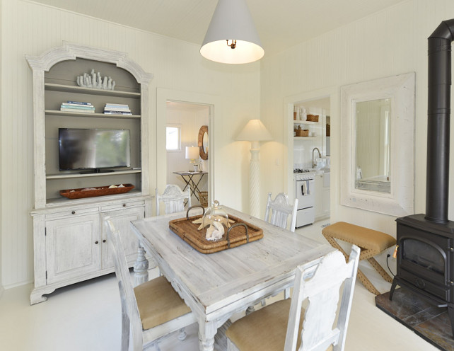 All White Dining Room. All white cottage dining room with painted white hardwood floors, white beadboard walls and white lighting. #DiningRoom #WhiteDiningRoom #CottageDiningRoom #DiningRoom