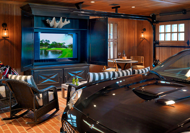 Ultimate Man's Cave, Garave, luxury car, and a big tv! #garage #Manscave