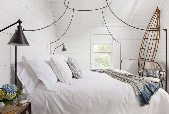 Anthropologie Italian Campaign Canopy Bed. Canopy bed . White bedroom with plank walls and iron canopy bed - Anthropologie Italian Campaign Canopy Bed. #Anthropologie #ItalianCampaignCanopyBed