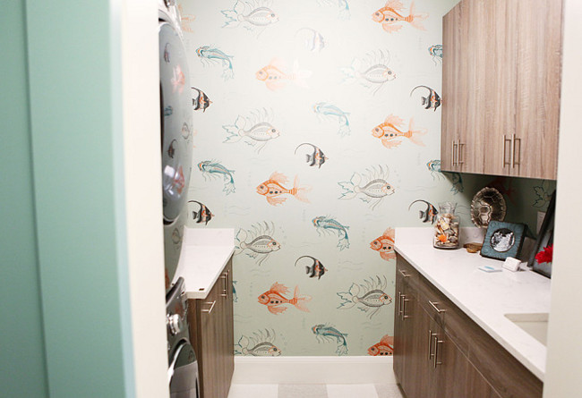 Aquarium wallpaper. Nina Campbell Aquarium wallpaper by Osborne and Little. Laundry room with Nina Campbell Aquarium wallpaper by Osborne and Little.
