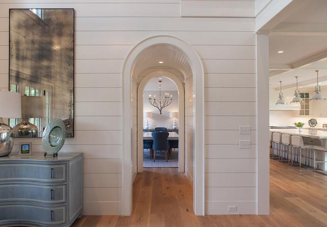 Arch. Arched Hallway. Arched Hallway with beadboard ceiling. #Arches #Arch #PlankArch #Plank #Beadboard #Hallway