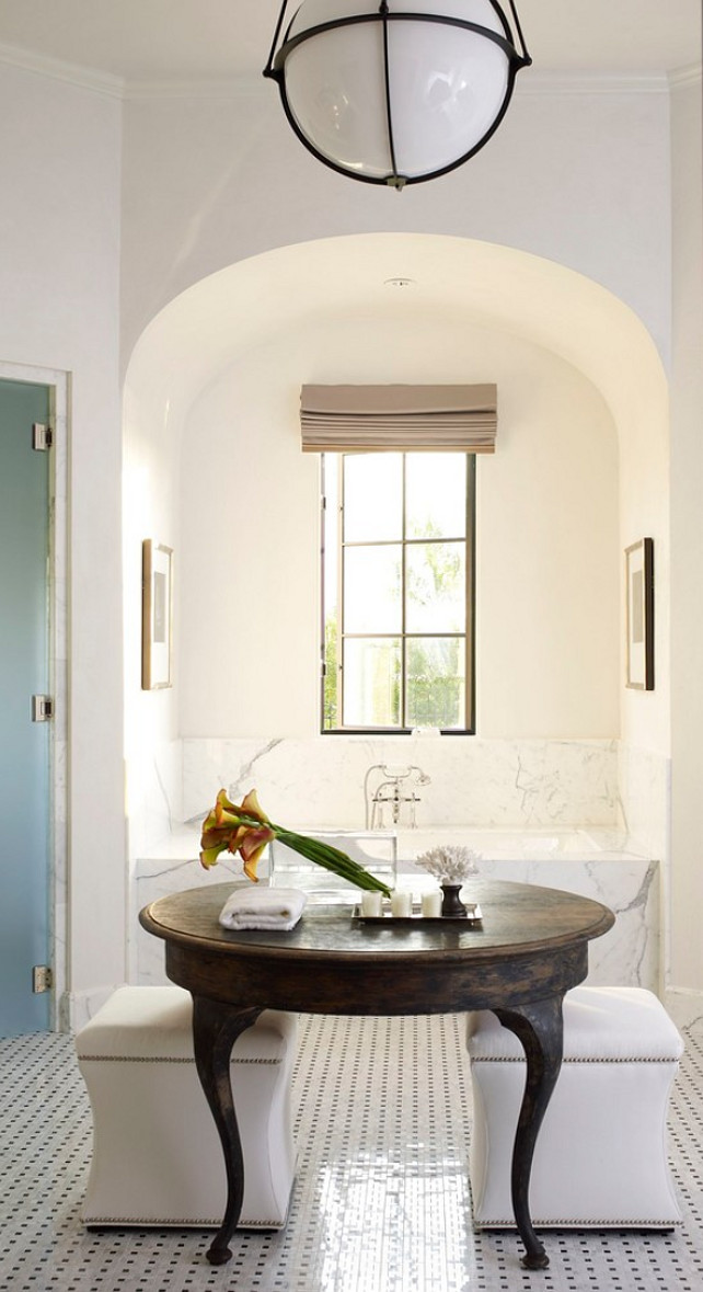 Arched Alcove Bathtub. Bathtub in ached alcove. Transitional bathroom with arched alcove. #Bathroom #TransitionalBathroom #ArchedAlcove Kevin Spearman Design Group, Inc.