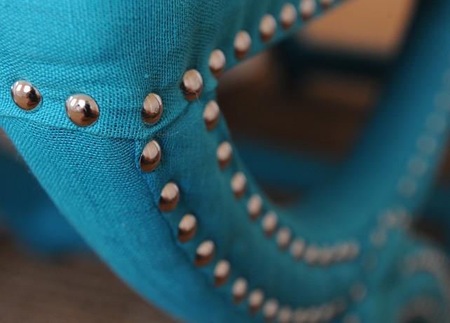 Arteriors Home Tennyson Turquoise Linen Stools. Nina Liddle Design.