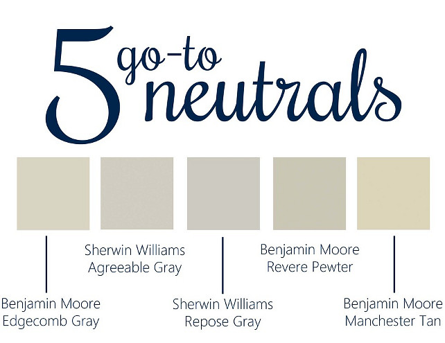 Top Pin Paint Colors: 5 Go-To Neutral Paint Colors BM Edgecomb Gray, SW Agreeable Gray, SW Repose Gray, BM Revere Pewter, BM Manchester Tan. Neutral Paint Color. Popular Neutral Paint Color. 5 Go-To Neutral Paints. #TopPin #PaintColors # GoToNeutralPaintColors Via Hannah Lowma.
