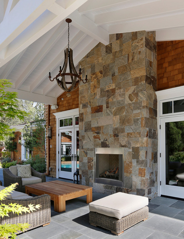 Back Porch with Fireplace. Back Porch with Outdoor Fireplace. Back Porch with Outdoor Fireplace Ideas. #Porch #OutdoorFireplace Markay Johnson Construction.