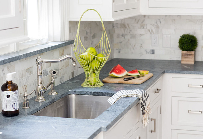Backsplash is Calacatta Gold Marble. Kitchen Backsplash. Calacatta Gold Tile Backsplash. #Backsplash #CalacattaGold #Marble #Tile Connecticut Stone.