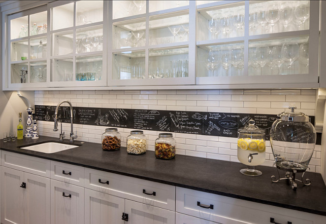 Backsplash. Kitchen backsplash. In this kitchen, the backsplah is slate and white subway tiles. #Backsplash #Kitchen