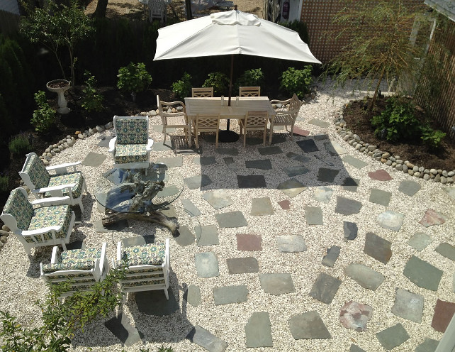 Backyard Patio. Paver Patio Ideas. Gravel patio with pavers. This is a very inspiring backyard layout. Adding gravel and pavers make this backyard almost maintenance-free! #Patio #Paver #Gravel #Backyard OUTinDesign.