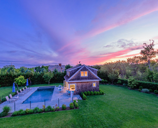 Backyard. Family home backyard with fence in pool.  Via Sotheby's Homes.