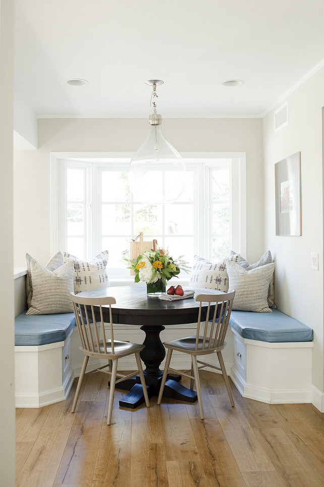 Banquette Breakfast nook. Breakfast nook with banquette, pillows and small round table. #Breakfastnook #Banquette Brooke Wagner Design.