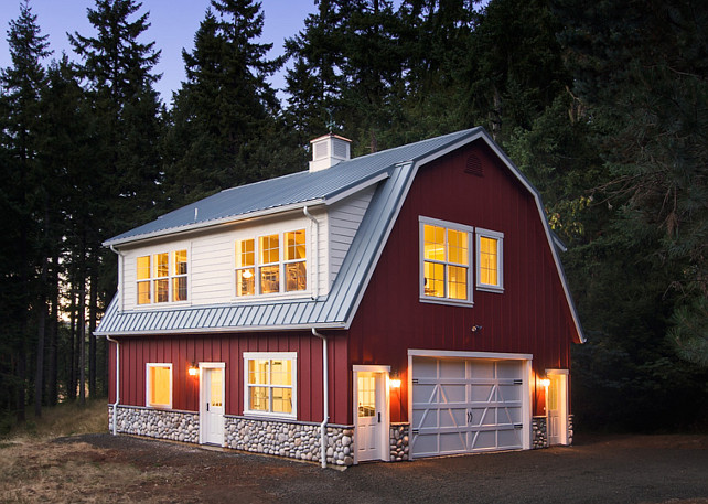 Barn. Red Barn Paint Color. The paint color of this red barn is Suburban Red #18 in Velvet sheen by Miller Paints. #RedBarn #PaintColor #RedBarnPaintColor  Henderer Design + Build.