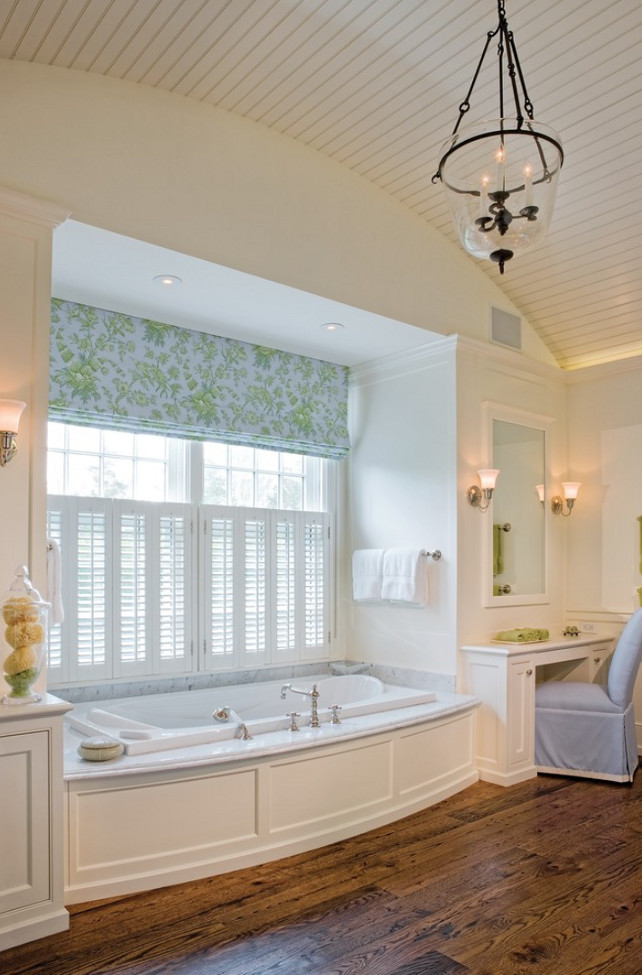 Barrel Ceiling. Bathroom Barrel Ceiling. Bathroom Beadboard Barrel Ceiling. Bathroom features bath nook and beadboard barrel ceiling. Beadboard Barrel Vaulted Ceiling. #Bathroom #BarrelCeiling #BathNook #Nook  SLC Interiors