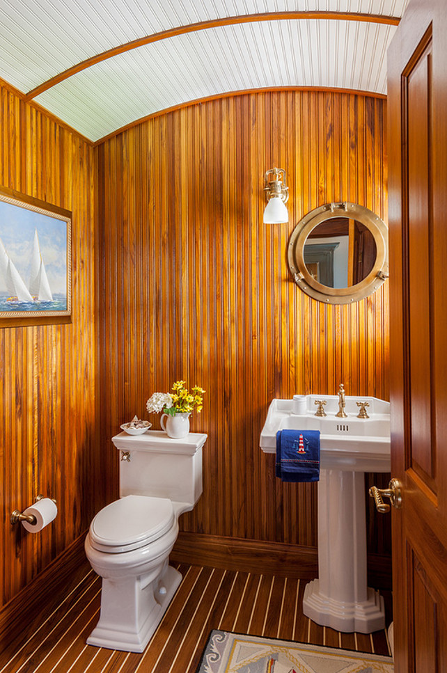 Barrel Ceiling. Powder room with barrel ceiling and beadboard walls. #BarrelCeiling