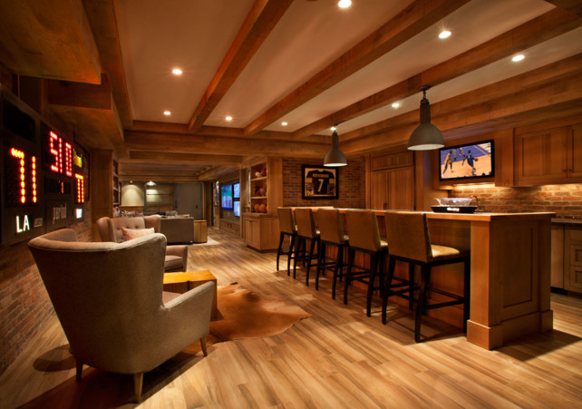 Basement Bar. Bar Ideas. Basement Bar Layout. Basement Bar Cabinet. #Basement #Bar Floors are Porcelain Plank.