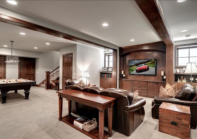 Basement Design Ideas. This basement is great to relax or entertaining. #BasementDesign #BasementIdeas
