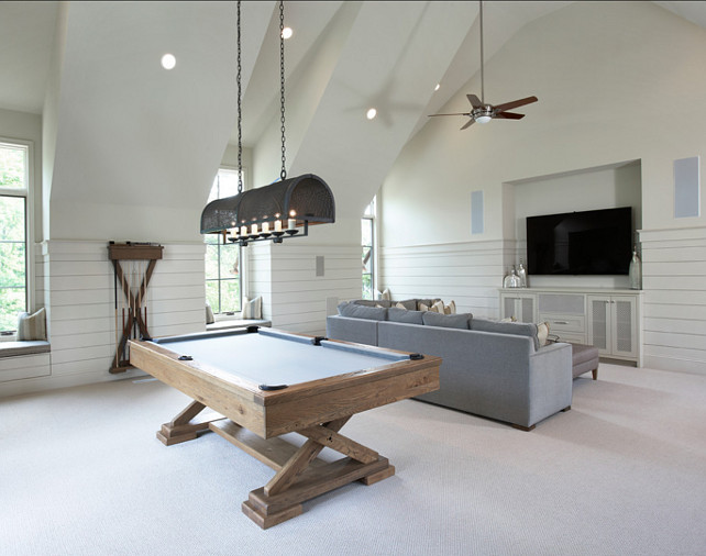 Lake house with transitional interiors home bunch for Pool table room design