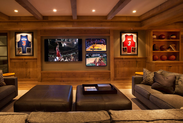 Basement Media Room Ideas. Basement Media Room with Multiple TVs. #Basement #TVRoom #MediaRoom Garrison Hullinger Interior Design Inc.