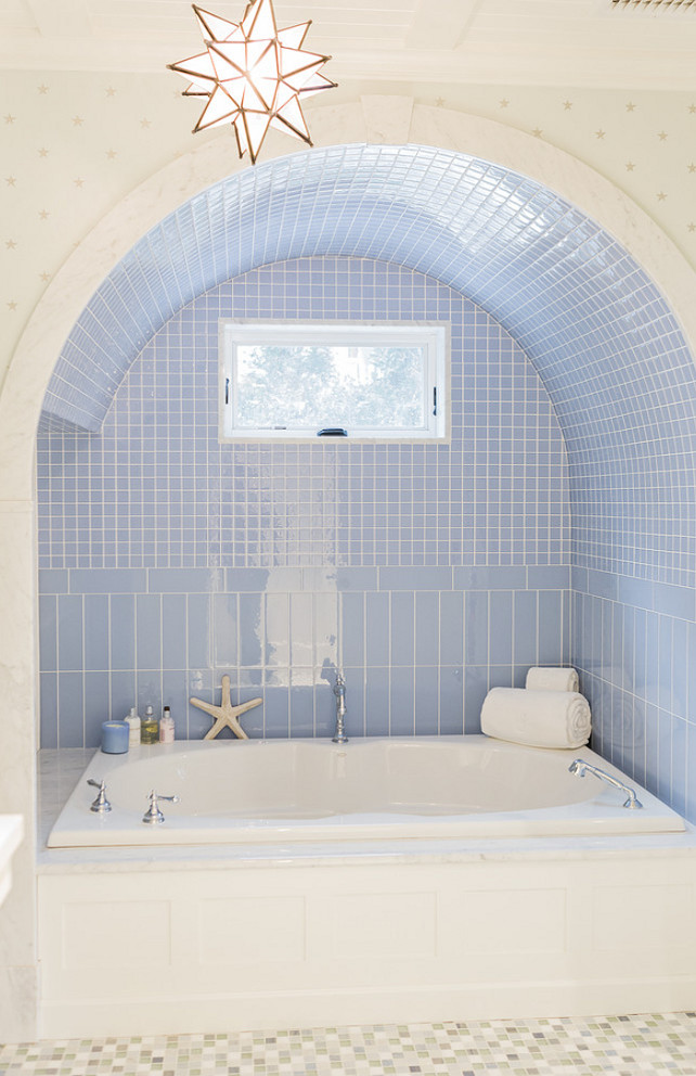 Bath nook. Arched bath nook. Arched bath nook wall tiles. #Bathroom #Bath #Nook #Arch Brookes and Hill Custom Builders.