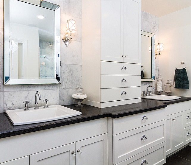 Bathroom Cabinet Design. Bathroom Cabinet design with great storage ideas. Bathroom with black honed quartz countertop and custom cabinet.  #Bathroom #Cabinet
