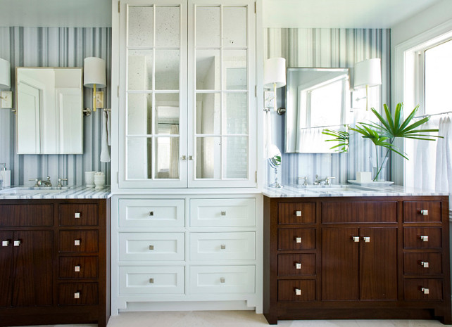 Bathroom Cabinet. Bathroom Linen Cabinet Flanked by Mahogany Bathroom Vanities. #Bathroom #Cabinet #Vanity Andrew Howard Interior Design.