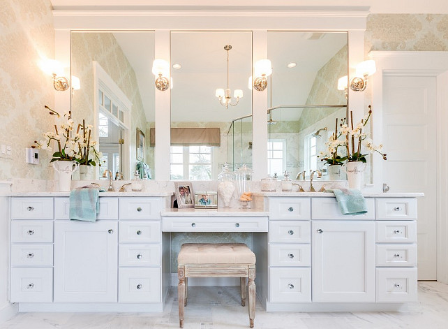 Bathroom Cabinet. Bathroom Vanity. How would you like to wake up to this vanity set-up every morning? Featuring Progress Lighting Fortune sconces. #Bathroom #Vanity #Cabinet #Sconces