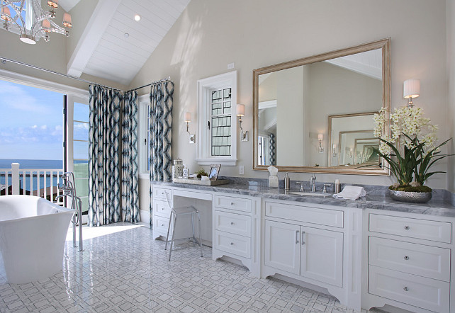 Bathroom Cabinet. Large bathroom shaker-style cabinet with marble countertop and marble flooring. #Bathroom #BathroomCabinet #ShakerStyleCabinet #MarbleCountertop #MarbleFlooring