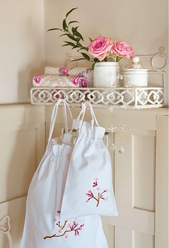 Creative Storage Ideas.  These adorable bags can storage towels or extra tissue paper. #StorageIdeas