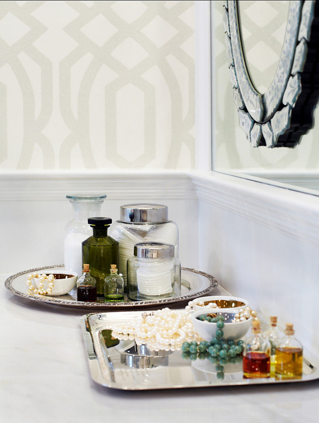 Bathroom Decor Ideas. Silver trays with accessories and well appointed toiletries. #BathroomDecor