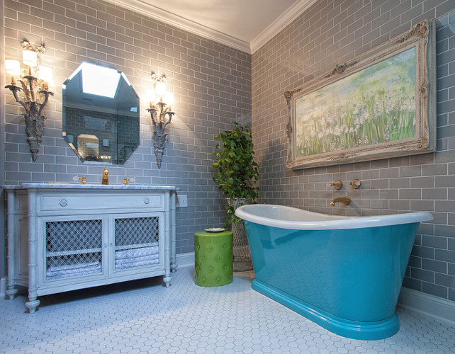 Bathroom Design Ideas. This tub was actually found at a flea market and we had it refinished and painted. I love to take old things and give them new life!  #Bathroom  Jennifer Spears