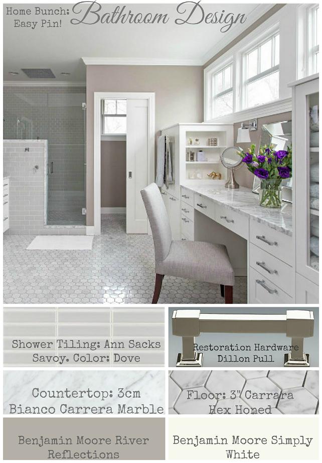 Bathroom Design. Bathroom Paint Color. Bathroom Hardware. Bathroom Cabinet. Bathroom Flooring, Bathroom Shower Tiling. Bathroom Countertop. Home Bunch Easy Pin. Pin or save the image above to know the sources for this bathroom. #Bathroom #BathroomDesign #HomeBunchEasyPin