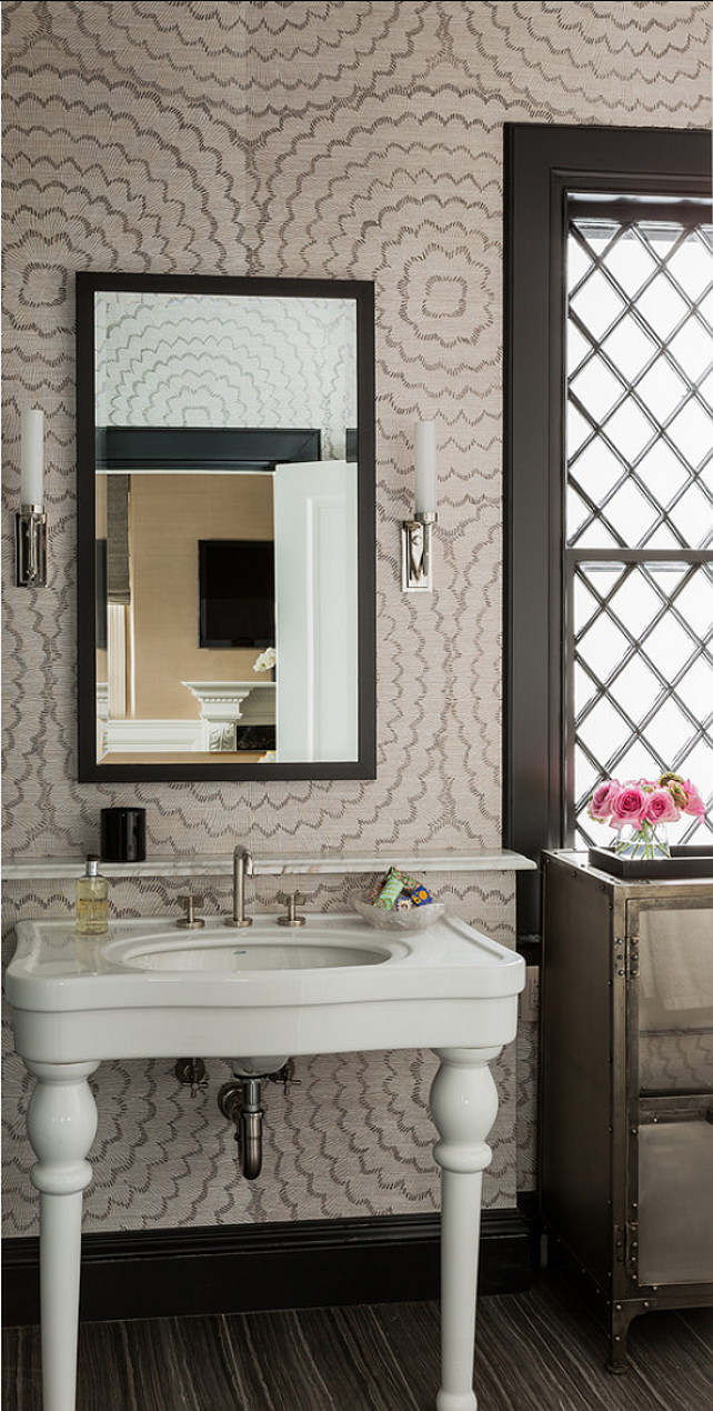 Bathroom Design. Transitional Bathroom Design. Bathroom with wallpaper and transitional decor. #Bathroom #TransitionalBathroom #Bathroomdecor #BathroomDesign #Bathroomideas Terrat Elms Interior Design.