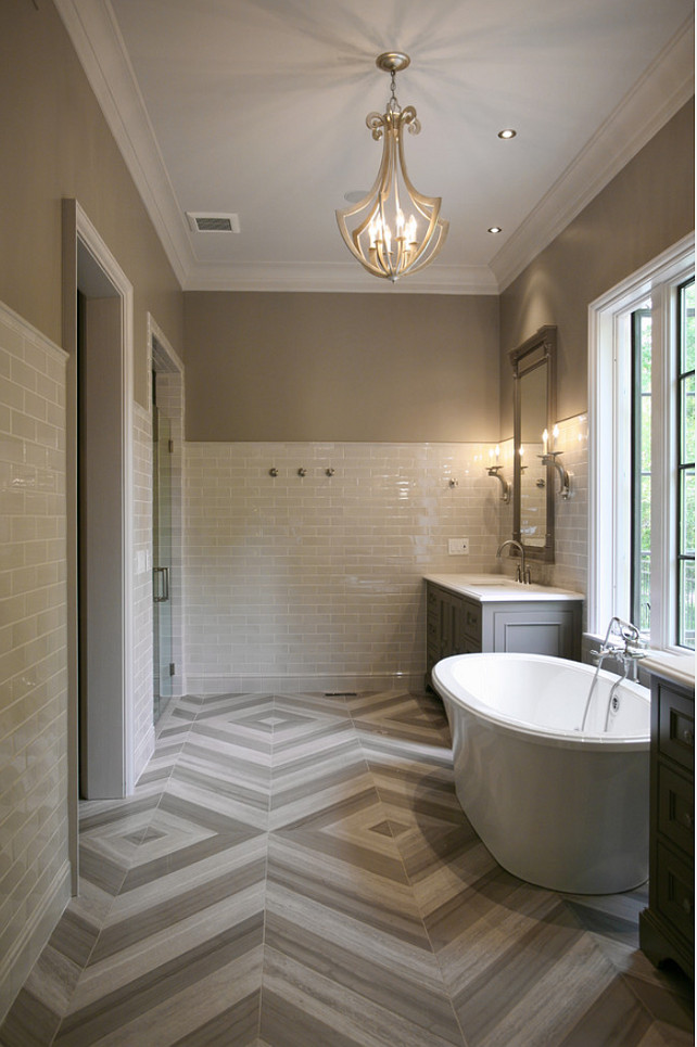 Bathroom Flooring. The flooring in this bathroom is Star Tribeca 3 x 9 Bossy Gray shower wall tiles, Limestone Chenille White 6 x 36 honed with 6 x 36 Silver Screen honed marble floor tiles by Builders Floor Covering & Tile. CR Home Design K&B