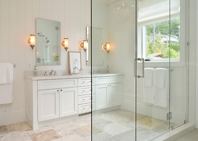 Bathroom Flooring. Non-slippery bathroom flooring ideas. The floor tile is custom selected and cut Limestone with a chiselled finish. Sunshine Coast Home Design.