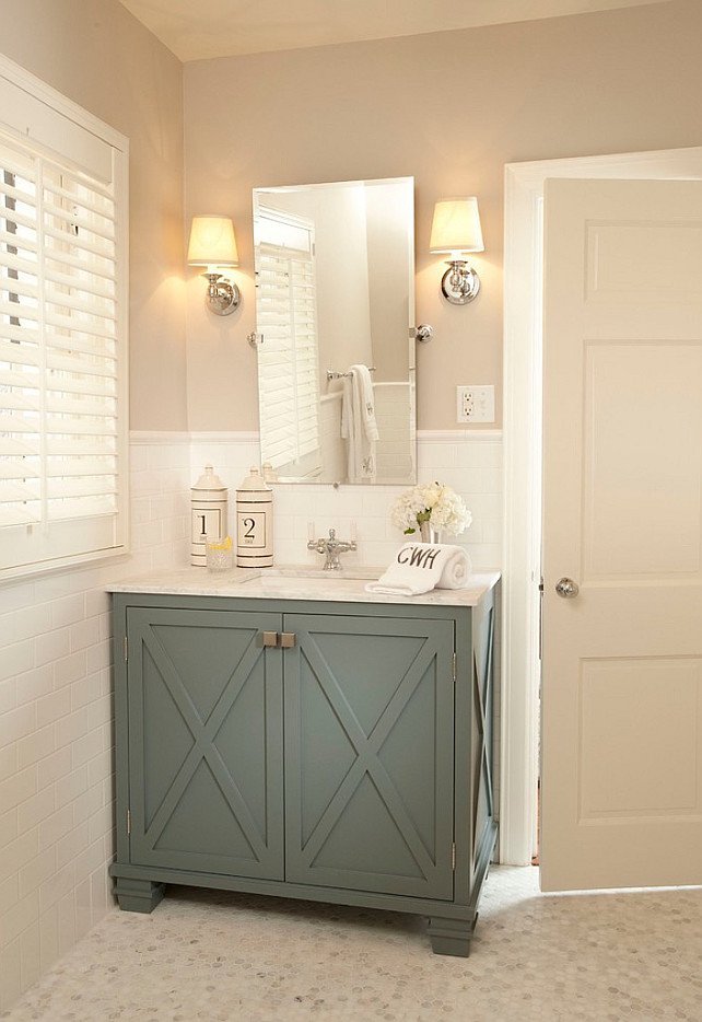 Bathroom Ideas. Bathroom Cabinet Ideas. Bathroom Paint Color. Neutral Bathroom #Bathroom  Tiffany Farha Design