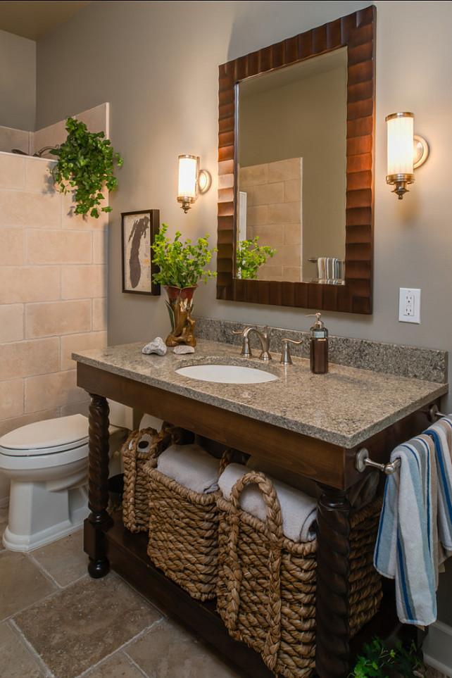 Bathroom Ideas. Bathroom Design. Storage is added with large rope baskets. #Bathoom #BathroomStorage