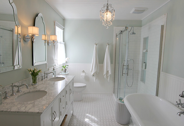 Bathroom Ideas. Bathroom Paint Color. Bathroom Paint Color is Sherwin Williams Sea Salt.  Golden Boys and Me.
