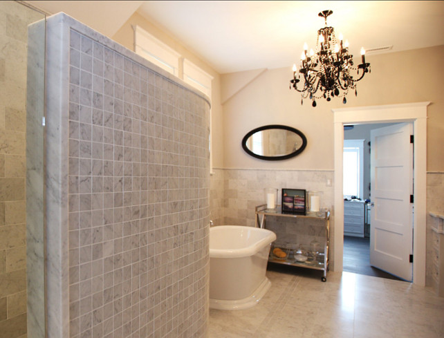 Bathroom Ideas. Bathroom with freestanding bath tub. #Bathroom #BathroomIdeas #FreestandingBathTub
