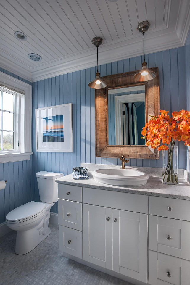 Bathroom Beadboard Walls and Ceiling Ideas. Coastal bathroom with blue and white motif. #Bathroom #HGTV2015DreamHouse