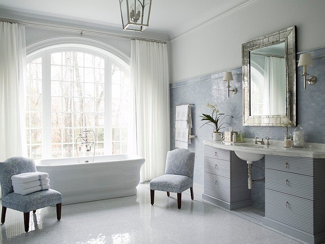 Bathroom Ideas. Elegant Bathroom. Elegant bathroom with glass lantern over freestanding tub. #Bathroom #ElegantBathroom Phoebe Howard