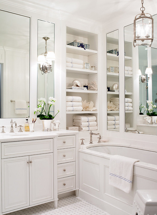 Bathroom Ideas. Small Bathroom Design Ideas. White Bathroom. Traditional Bathroom. Bathroom with built-in bookcase. A beautiful, clean, cool, classic, white Master Bathroom. #Bathroom #BathroomIdeas