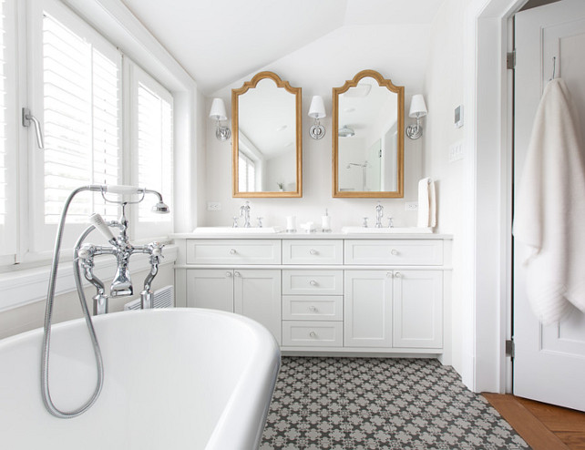 Bathroom Mirror Ideas. Bathroom Mirror. Bathroom mirrors flanked by sconces. The bathroom tiling is from Ramacieri Soligo. #Mirror #Bathroom #BathroomMirror #Sconces Le Groupe SP Reno Urbaine Inc.