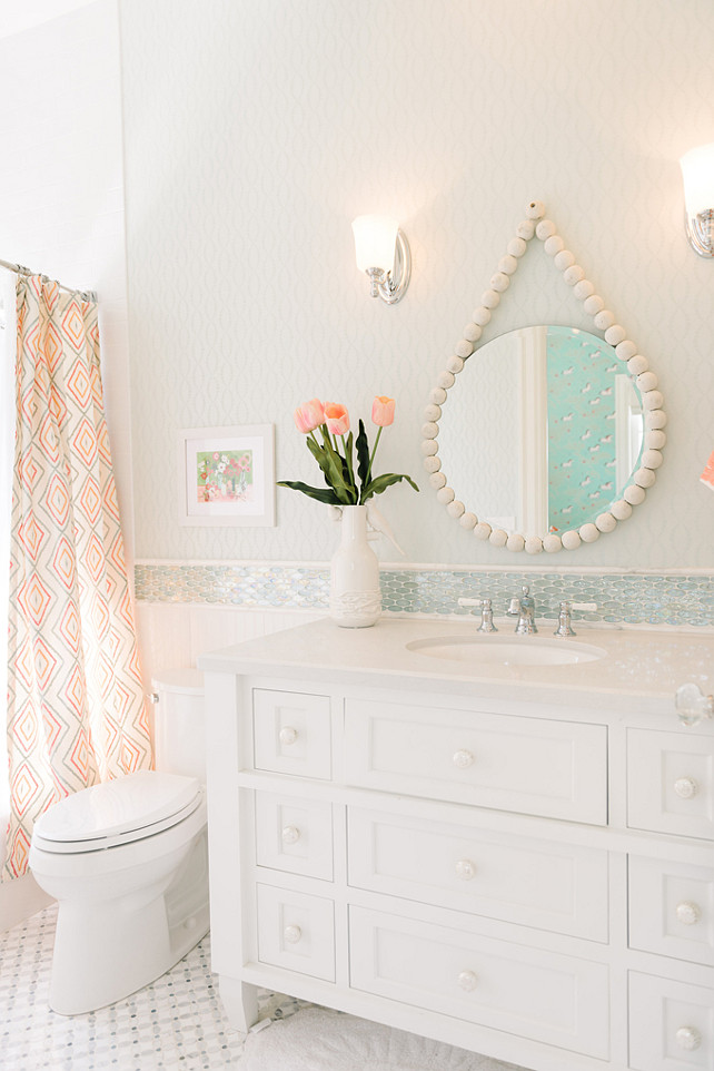 Bathroom Mirror. Bathroom Mirror. Beaded round mirror. #Bathroom #Mirror Four Chairs Furniture.