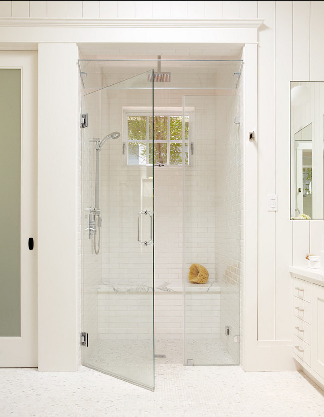 Bathroom Shower. Shower Ideas. Gorgeous white tile shower with bench, steam shower, and window for natural light. Bathoom Shower design. #Bathroom #Shower Rasmussen Construction.