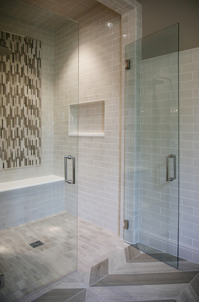 Bathroom Shower. Shower Glass doors and hardware by Atlanta Glass & Mirror. Star Tribeca 3 x 9 Bossy Gray shower wall tiles, Limestone Chenille White 6 x 36 honed with 6 x 36 Silver Screen honed marble floor tiles by Builders Floor Covering & Tile. CR Home Design K&B.