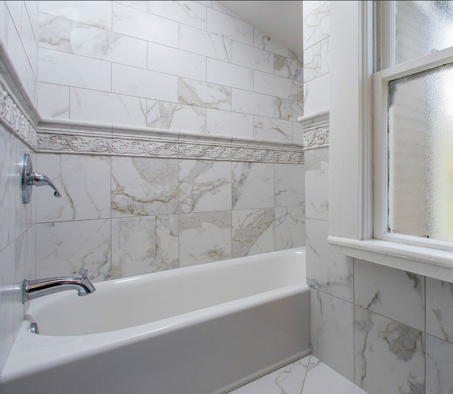 Bathroom Tile Design Ideas. This is a very small bathroom, but the tiling adds beauty to the space. Bathroom tiles in different sizes. #Bathroom #Tiles BathroomTilingIdeas