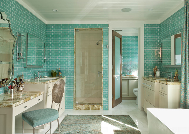 Bathroom Tiling. Bathroom Wall Tiles. The tiles in this bathroom are. Village Glass. Color is Caribe – Color is achieved by melting a colored glass frit onto the back of crystal glass tiles, available is more than 30 colors in both gloss and matte. Available at Hagan Flynn. #BathroomTiling