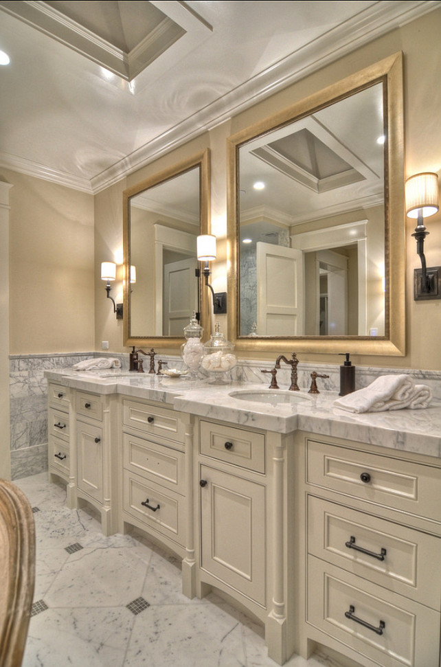 Bathroom Vanity Ideas. Beautiful Double bathroom vanity with marble countertop. #Bathroom #BathroomVanity #bathroomVanityDesign