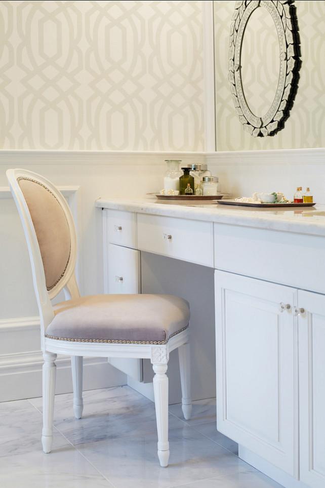 Bathroom Vanity design Ideas. Feminine bathroom vanity and cabinets. #Bathroom #Cabinets #Vanity